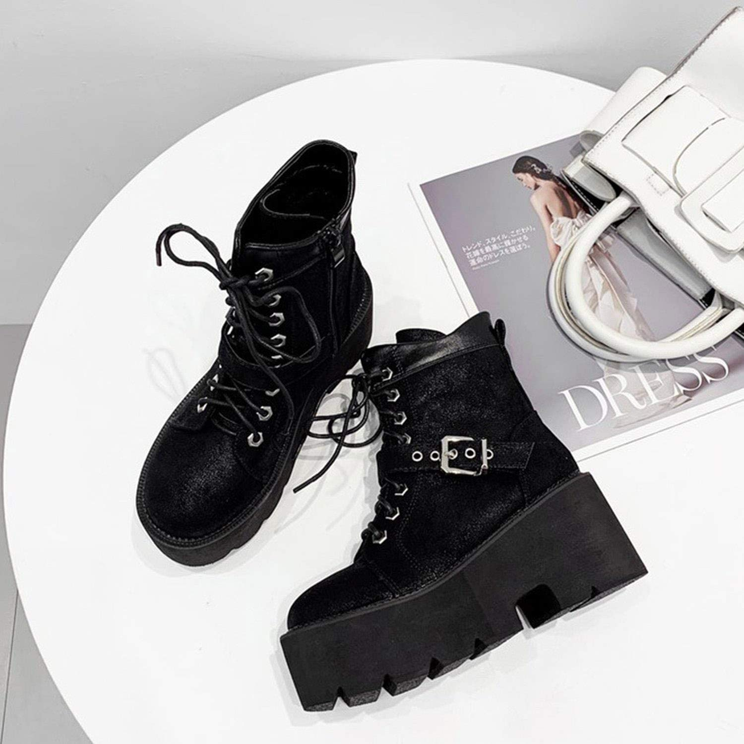 Buckle Strap Chunky Platform Womens Boots Lace up Martin Boots Round Toe Ankle Boots