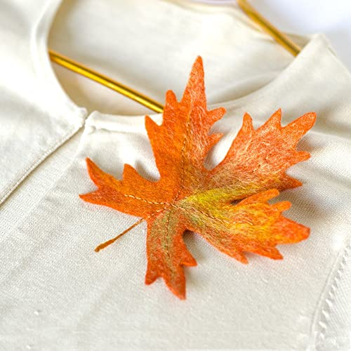 767aa3320 Image Unavailable. Image not available for. Color: Fall Leaves Pins Orange Maple  Leaf Jewelry Handmade felted Jewellery Wool brooches ...