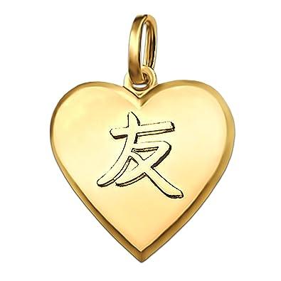 Clever joyas dorado colgante corazón 15 mm Mate con Chino Amistad ...