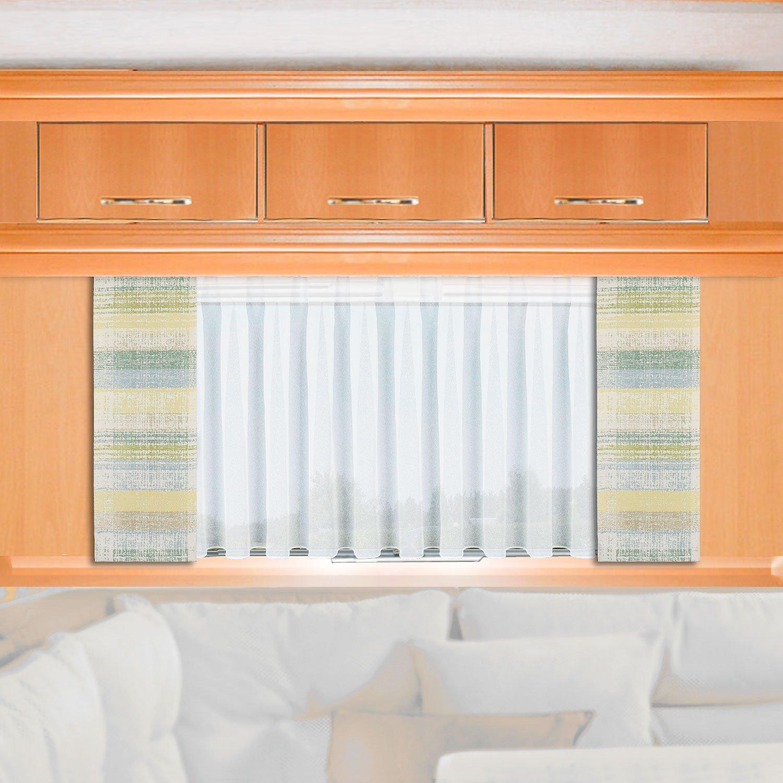 120cm nach Ma/ß H/öhe 60 gr/ün-beige-gelb Fl/ächengardine f/ür Caravan Wohnwagen Wohnmobil SeGaTeX home fashion Caravan-Fl/ächenvorhang Liam 20cm breit