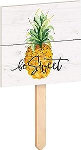 P. Graham Dunn Be Sweet Pineapple Nautical White 15 x 7 Pine Wood Yard Sign with Stake