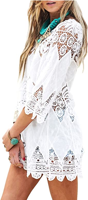 Dnfc Beach Cover Up Women Cotton Lace Beachwear Cover Dress Top Ladies Bathing Suit Short Beach Crochet Wrap Summer Bikini Swimsuit Cover Up For Pool Swimming Holiday White One Size Amazon Co Uk Clothing
