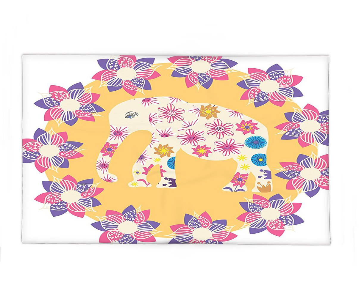 Interestlee Fleece Throw Blanket Cartoon Thai Baby Elephant Kids Decor Colorful Natural Wildlife Animal Prints