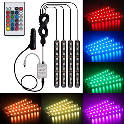 Car LED Strip Lights Interior LIghts Kit, Henlight 4 Pcs 36LED 16 Colors Multi-color Car Under Dash Lighting, Waterproof Car Neno Lights Strip with Multi-Mode Change and Remote Control: Automotive
