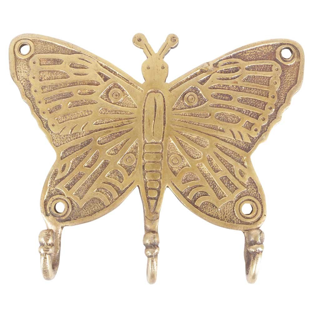 IndianShelf Set of 4 Handcrafted Artistic Bronze Brass Vintage Style Butterfly Holders for Hanging Key with 3 Peg Wall Coats Towels Clothes Hats Bathroom Kitchen Mounted Vintage Utility Classic Solid by Indian Shelf
