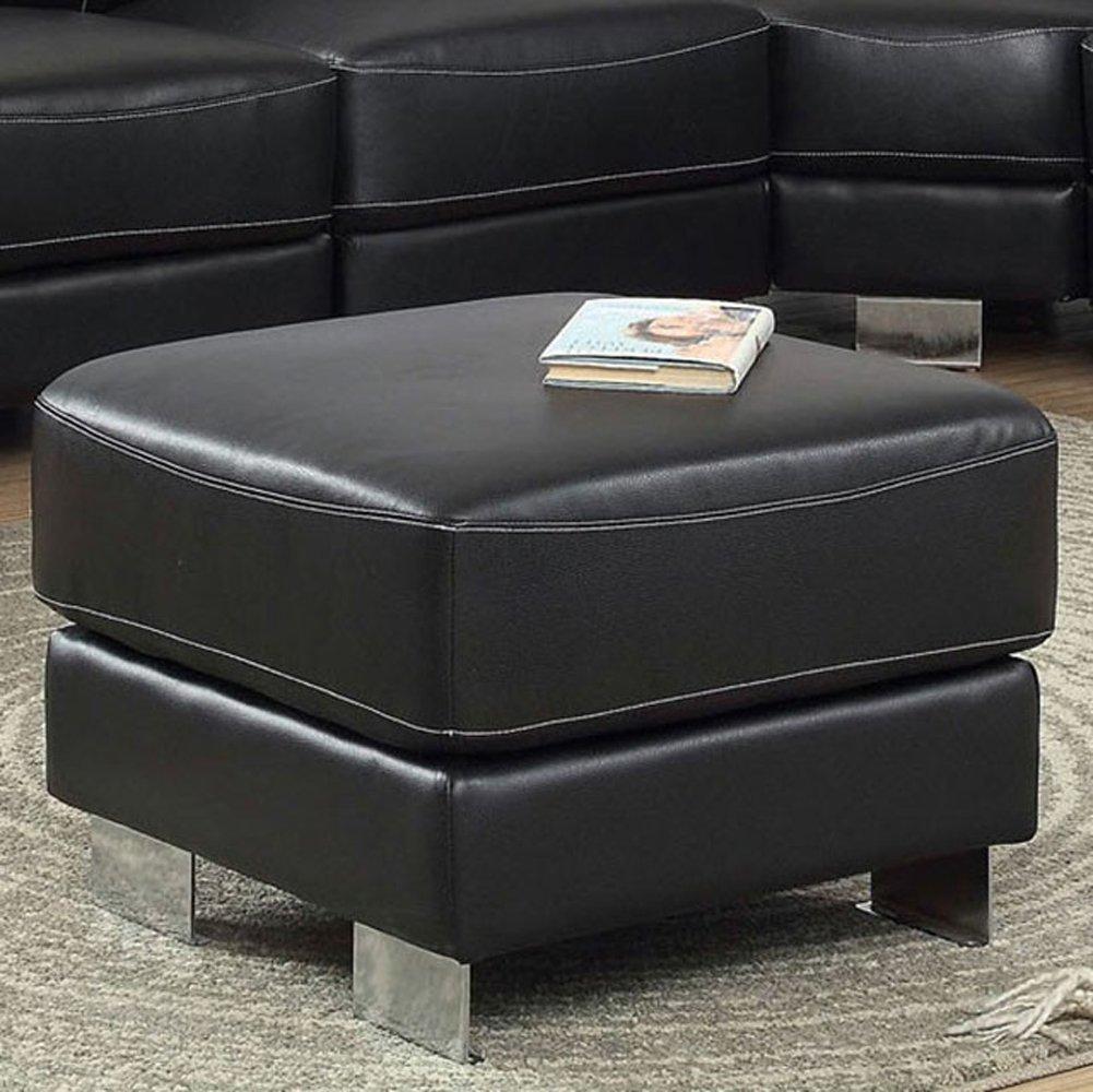 Amazon com furniture of america cm6719ot garzon black bonded leather ottoman living room kitchen dining
