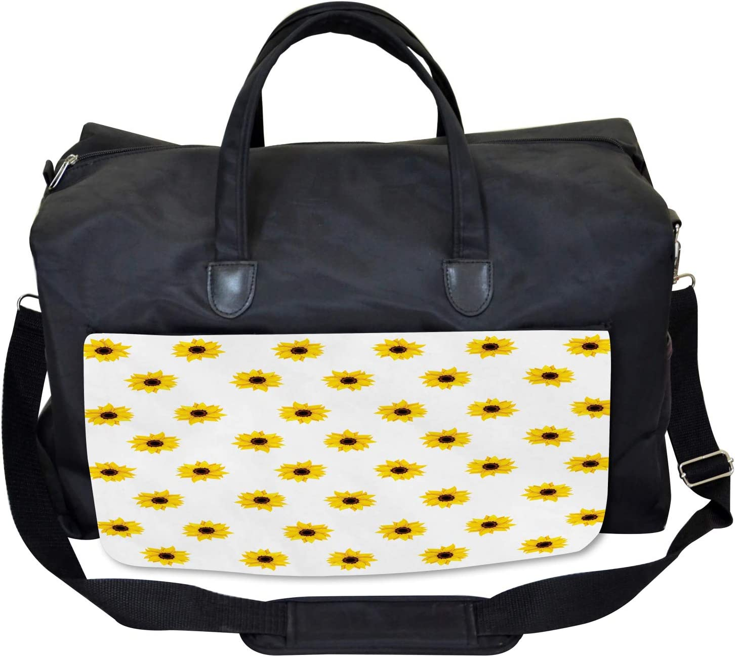 Sunflower Pattern Nature Ambesonne Yellow Gym Bag Large Weekender Carry-on