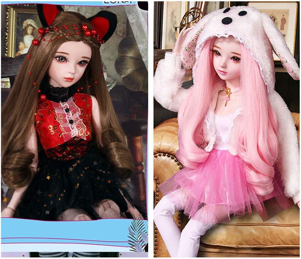 per creazione di bambole Wandic Parrucca in 10 colori da 10 pezzi parrucca arrotolata ad alta temperatura per hobby creativi costumi da donna