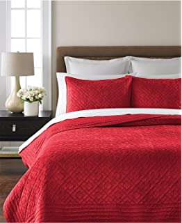 Nice Martha Stewart Collection Diamond Plush Quilt, Full/Queen, Red
