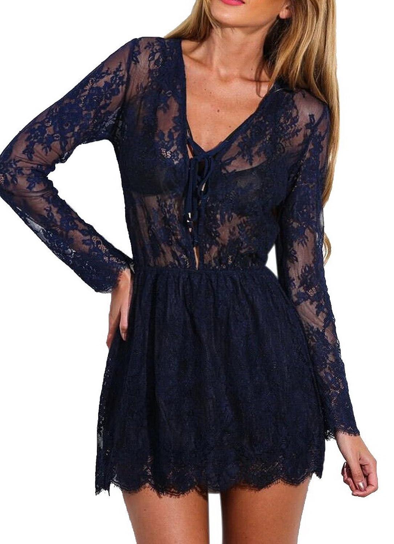 Lukis Damen Sommerkleid V Ausschnitt Transparent Partykleid jetzt kaufen