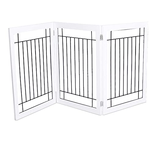 Internet s Best Traditional Wire Dog Gate – 3 Panel – 30 Inch Tall Pet Puppy Safety Fence – Fully Assembled – Durable MDF – Folding Z Shape Indoor Doorway Hall Stairs Free Standing – White