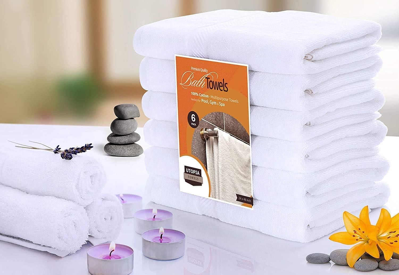 Blanco Toalla de Secado r/ápido multiprop/ósito Ligera Blanco Toallas de ba/ño Cotton Pool Gym Utopia Towels - 500 gsm Paquete de 6, 56 x 112 cent/ímetros
