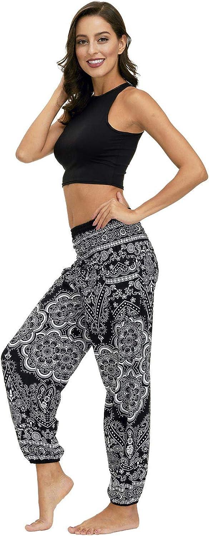Honeystore Womens Boho Yoga Pants Smocked Waist Harem Baggy Hippie Beach Pants