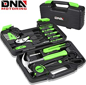 DNA MOTORING Green 39 PCs Portable TooL Kit Household Hand Toolbox General Repair Screwdriver Pliers Hammer Hex (TOOLS-00010)