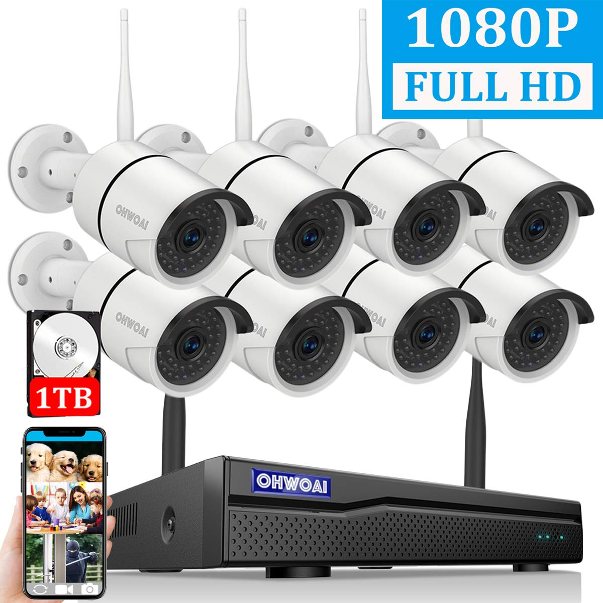 【2019 New】 Security Camera System Wireless Outdoor, 8 Channel 1080P NVR with 1TB Hard Drive, 8PCS 1080P CCTV Cameras for Homes,OHWOAI HD Surveillance Video Security System,Outdoor Wireless IP Cameras