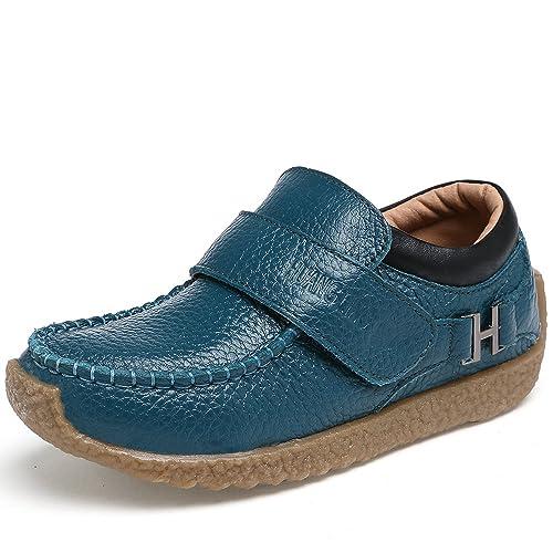 VILOCY Niños Chico Colegio Estudiante Zapatilla Oxford Hebilla mágica Mocasines Azul 31EU: Amazon.es: Zapatos y complementos