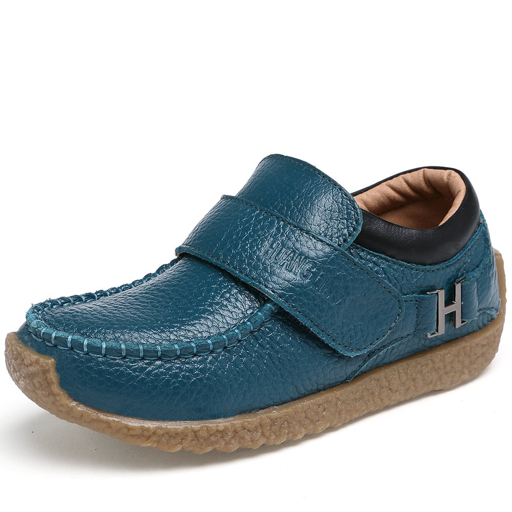 VILOCY Boys Leather School Shoes Casual Trainers Boots Low-Top Slip On Loafers Flats Blue,30