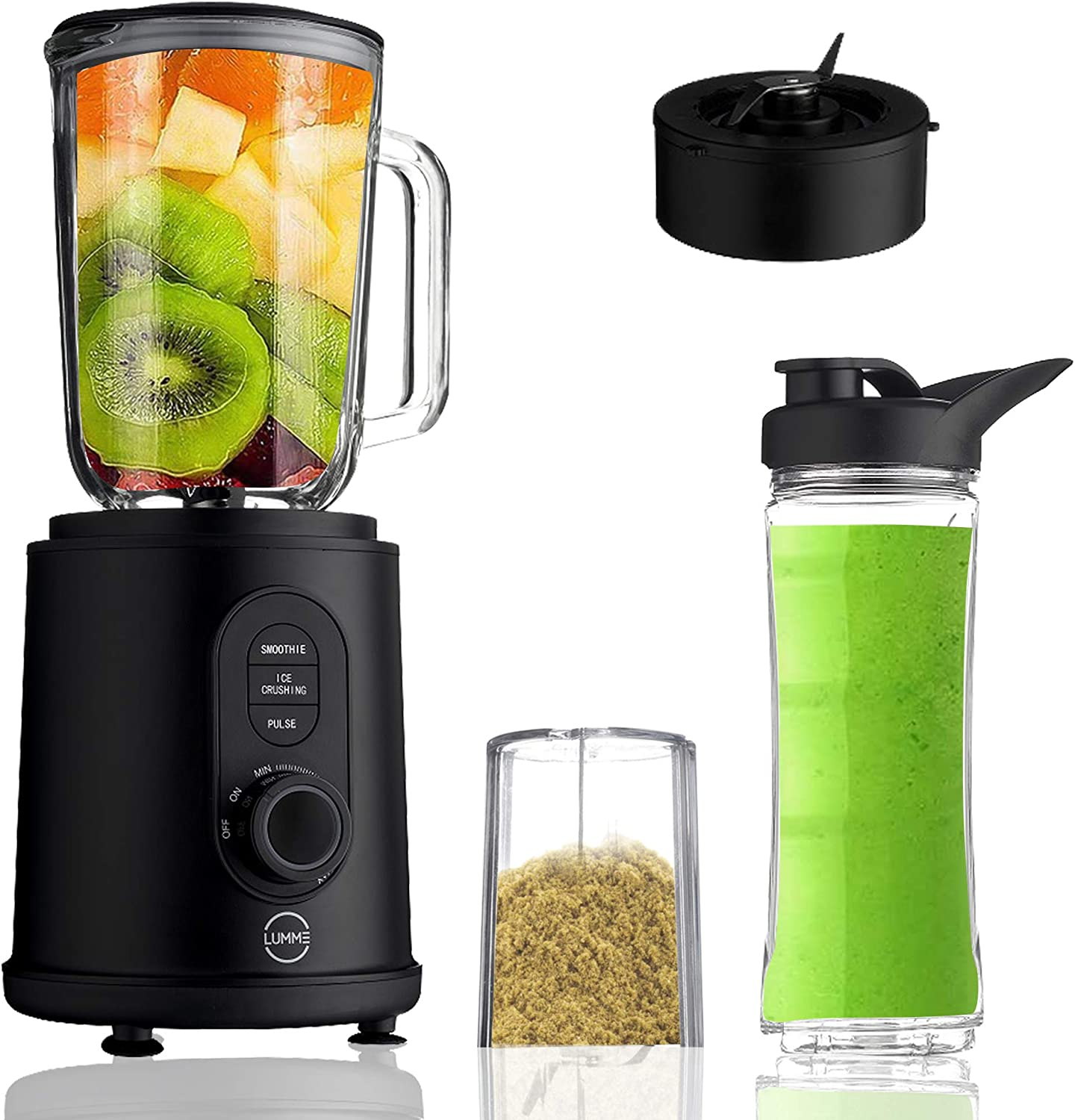 Lumme Blender 3 in 1 Blender, Ultra strong blending machine, Pulse and ice crush modes, adjustable speed, personal to-go bottle and coffee-bean grinder included