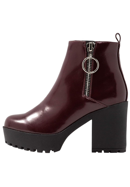 Even&Odd Damen Stiefeletten mit profiliertem Block-Absatz & Plateau – Trendige Ankle Stiefel mit Reißverschluss – Halbstiefel mit Plateauabsatz