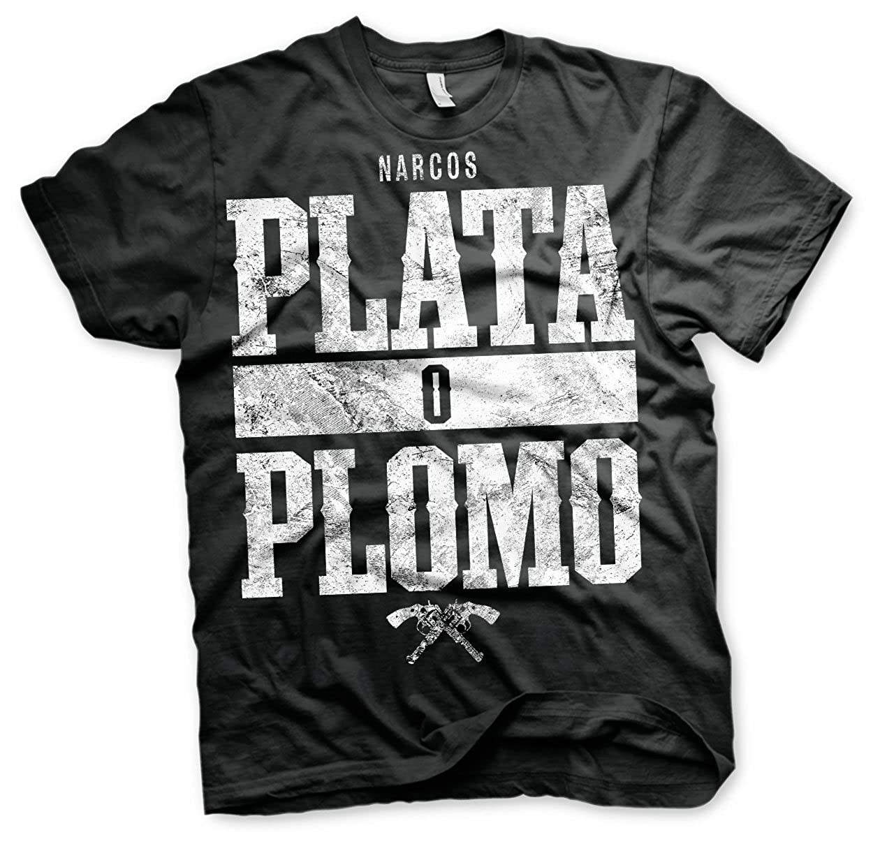 TALLA S. Officially Licensed Merchandise Narcos - Plata o Plomo T-Shirt (Black)