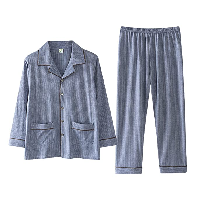 Conjunto de pijama de los hombres de la raya,Manga larga ropa de dormir de