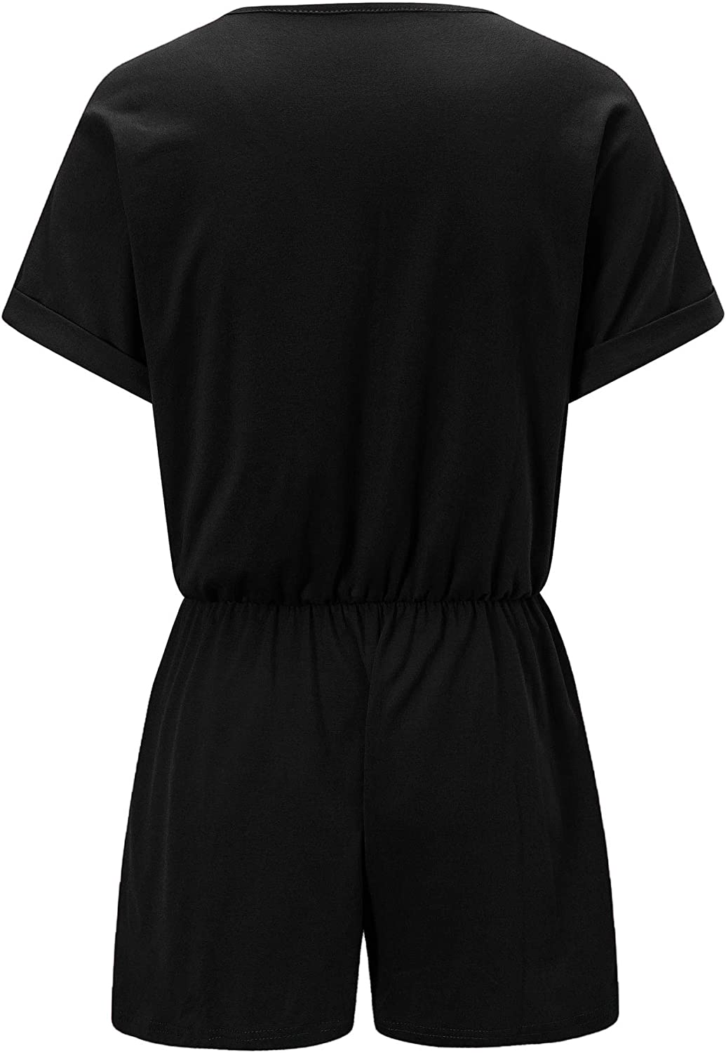 QUNNDY Womens Summer Solid Jumpsuit Casual Loose Short Sleeve Elastic Waist Jumpsuit Rompers with Pockets