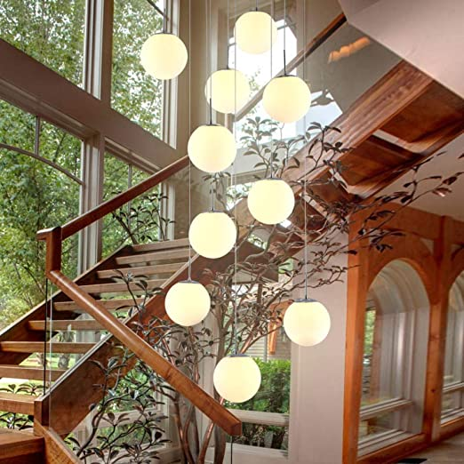Lámpara colgante de vidrio blanco Lámpara de suspensión de cocina Lámpara colgante de bola de vidrio Luces de escalera Lámpara de vidrio blanco Lámparas de comedor Dormitorio @ 15A: Amazon.es: Iluminación