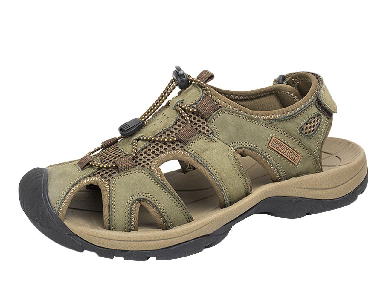 SK Studio Hombre Montaña Sandalias de Cuero Outdoor Punta Cerrada Zapatos Con Velcro 43 EU Verde caqui