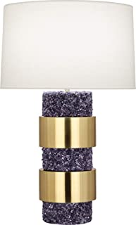 product image for Robert Abbey PR577 Betty - One Light Table Lamp, Modern Brass/Polished Purple Stone Finish with Fondine Fabric Shade