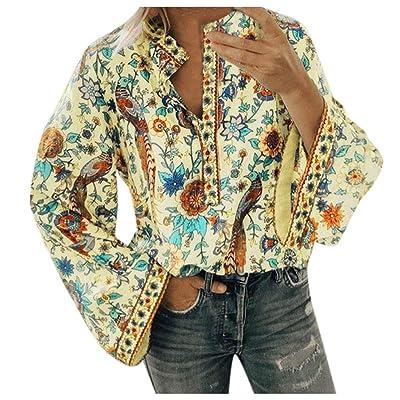 ღLILICATღ Camisas para Mujer, Túnica con Cuello en V de Estampado Floral Vintage de Mujer Tops de Talla Grande de Moda para Mujer Casual Blusa Suelto Tops 2019 Oferta: Ropa y accesorios