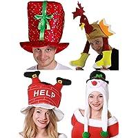 CHRISTMAS HATS PARTY PACK 4 PIECE MENS LADIES XMAS COSTUME FANCY DRESS ACCESSORY SET PRESENT HAT + TURKEY HAT + SNOWMAN HAT + SANTA DOWN THE CHIMNEY HAT
