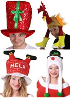 CHRISTMAS HATS PARTY PACK 4 PIECE MENS LADIES XMAS COSTUME FANCY DRESS  ACCESSORY SET PRESENT HAT 7c1d3cf875eb