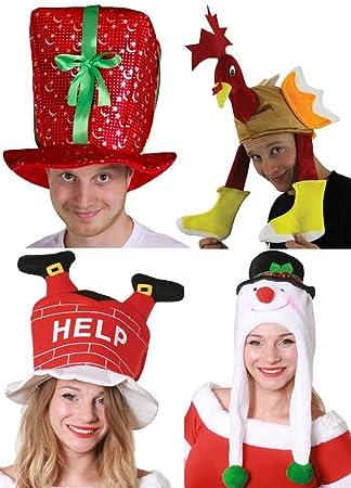 CHRISTMAS HATS PARTY PACK 4 PIECE MENS LADIES XMAS COSTUME FANCY DRESS  ACCESSORY SET PRESENT HAT a86b54787a61