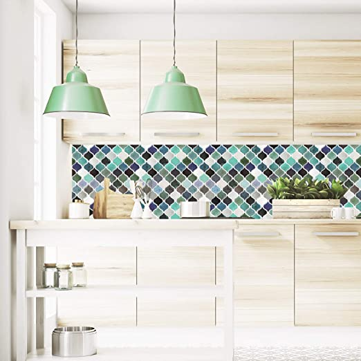 Amazon Com Azulejos De Pared De Mosaico Arabe Autoadhesivos