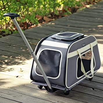 Petsfit Pet Carrier Trolley With Telescopic Handle Portable Large