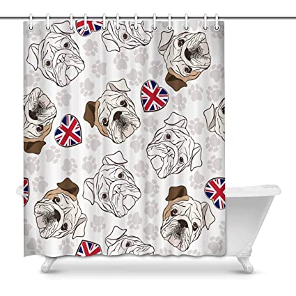 Image Unavailable Not Available For Color INTERESTPRINT English Bulldog Bathroom Shower Curtain