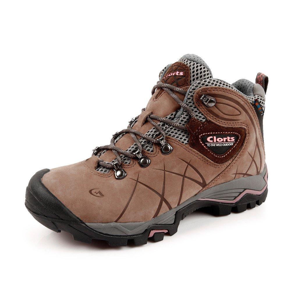 Clorts Women's Nubuck Waterproof Hiking Boot Outdoor Backpacking Shoe Brown HKM-802B US5.5