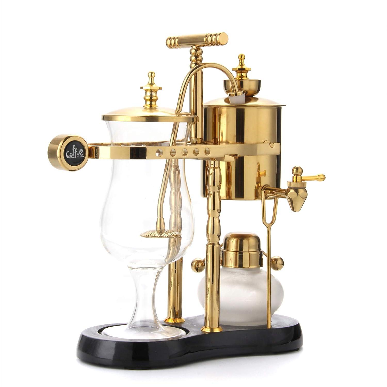Syphon Coffee Maker Diguo Belgian Belgium Luxury Royal Family Balance Siphon Elegant Double Ridged Fulcrum with Tee handle Egyptian Black /& Gold