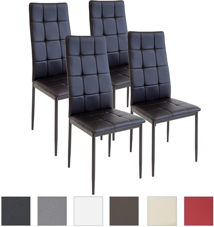 Albatros Silla Rimini, Set de 4 sillas, Negro, certificada por la SGS, Silla de Comedor