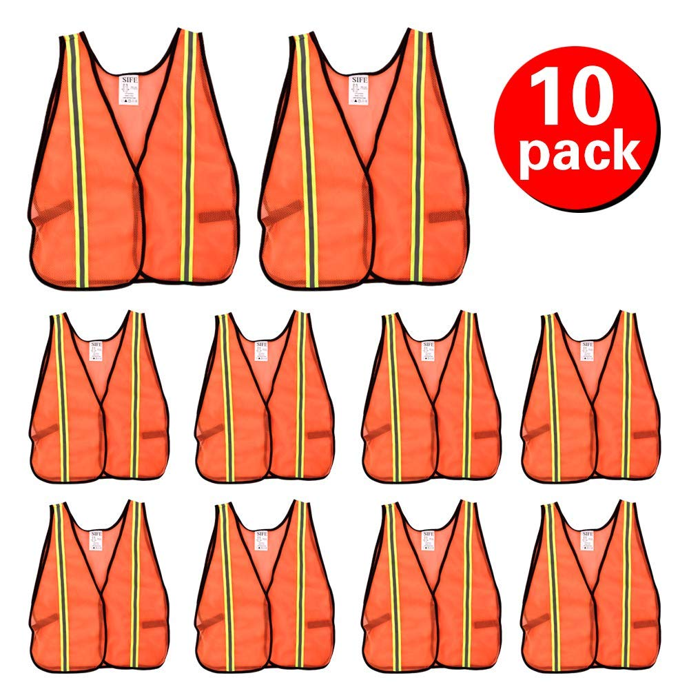 SIFE High Visibility Reflective Safety Vest with 1 Inch Reflective Strips,Made from Breathable and Neon Orange Mesh Fabric,Universal Size,10 pack by SIFE