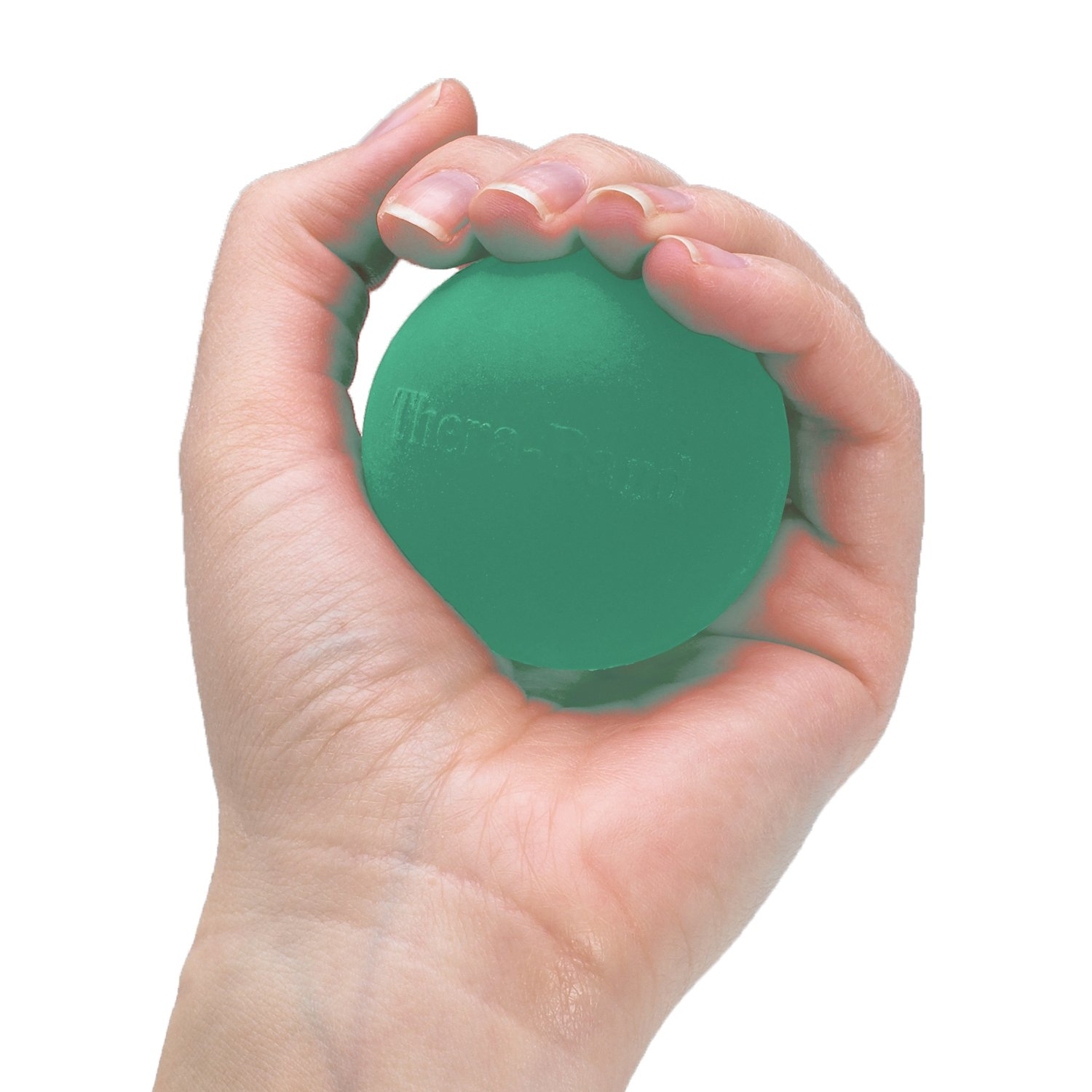 TheraBand Hand Exerciser, Stress Ball For Hand, Wrist, Finger, Forearm, Grip Strengthening & Therapy, Squeeze Ball to Increase Hand Flexibility & Relieve Joint Pain, Green, Medium by TheraBand