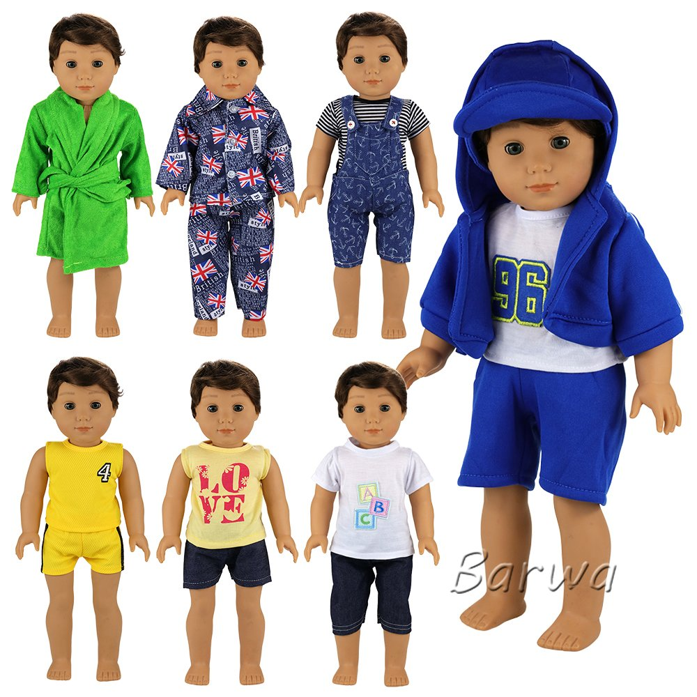 Barwa Boy Doll Clothes 7sets Boy Doll Clothes Daily Casual Clothes Outfits for 18 Inch American Girl & Boy Dolls Logan Doll Outfits by Barwa