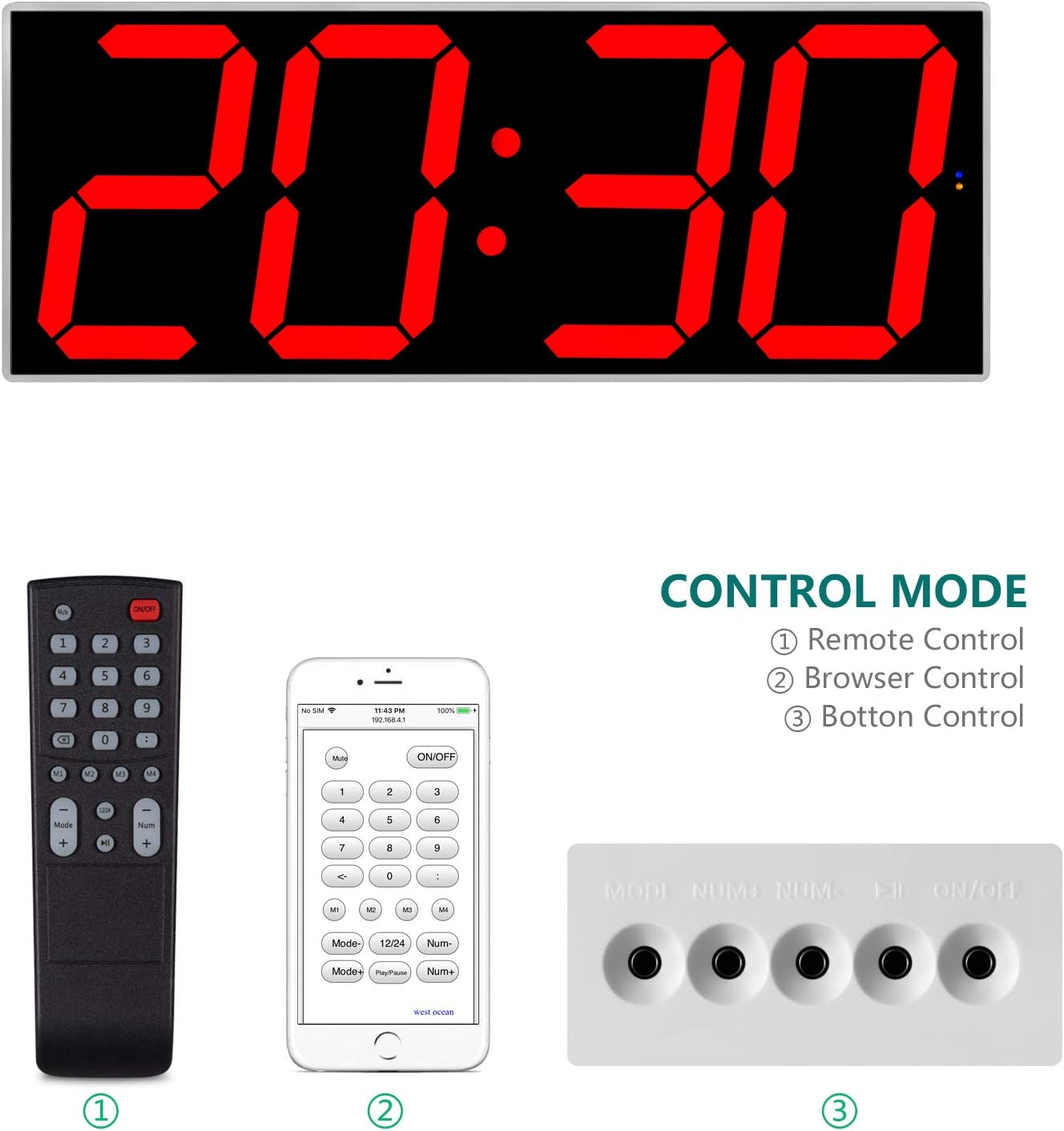 """West Ocean 6"""" Digital Smart Large LED Wall Clock Jumbo Display with Remote Control/WiFi Control via Internet and Countdown Timer Multifunction"""