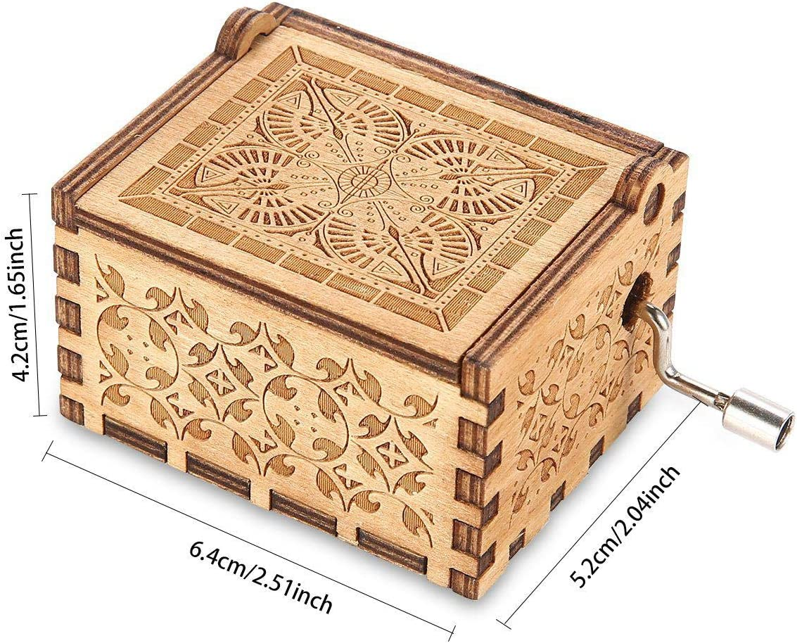 18 Note Mechanism Antique Carved Musical Box Gifts For Kids//Freinds//Adults Wooden Classic Music Box Crafts With Hand Crank Womdee Music Box Cant Help Falling In Love Theme
