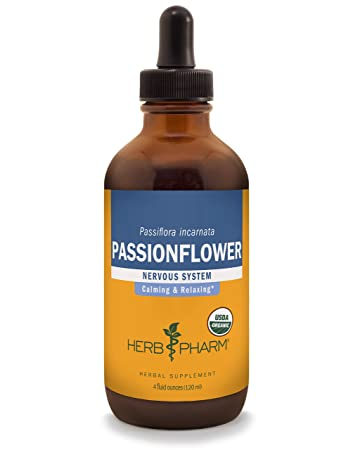 Herb Pharm Certified Organic Passionflower Liquid Extract for Mild and Occasional Anxiety – 4 Ounce
