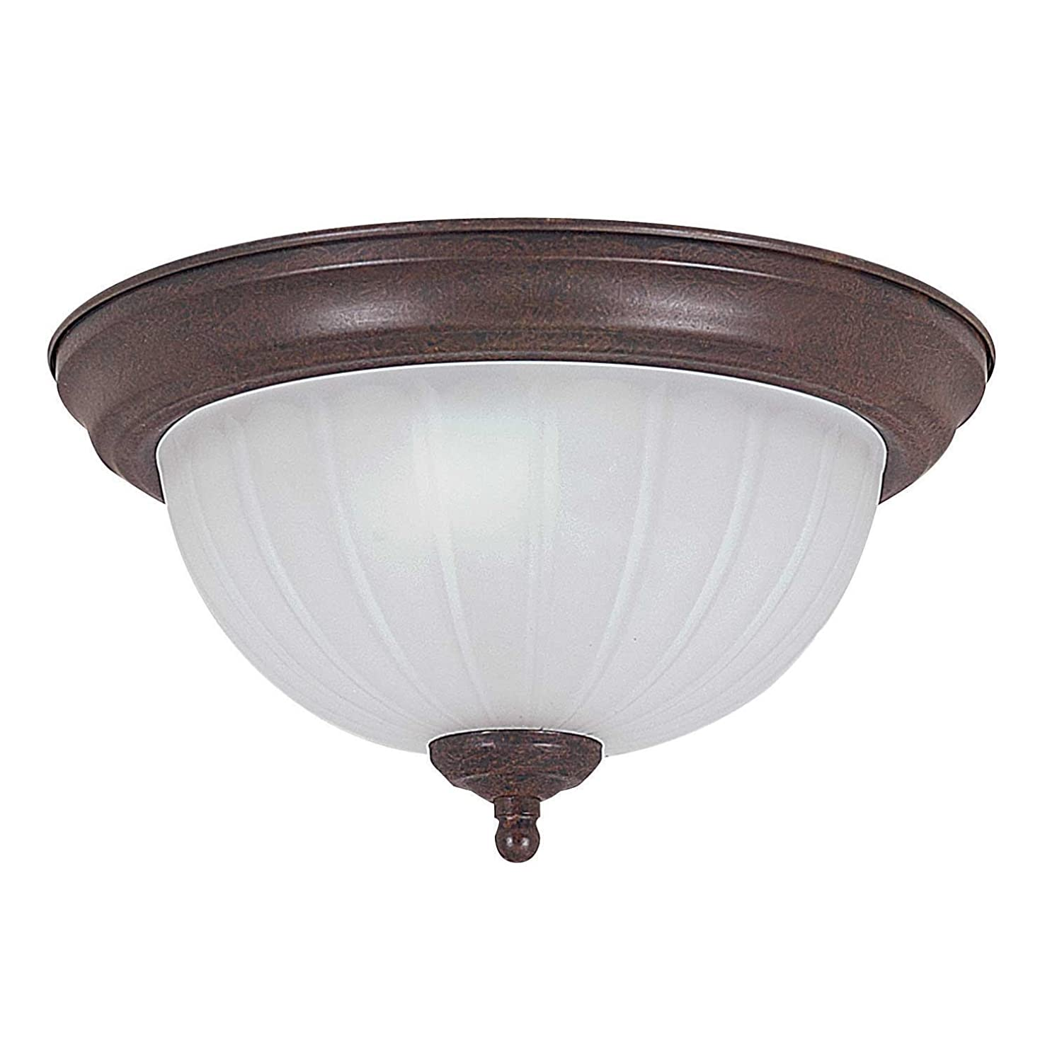 Rubbed Bronze Finish Sunset Lighting F7102-62 Flush Mount with Frosted Melon Glass