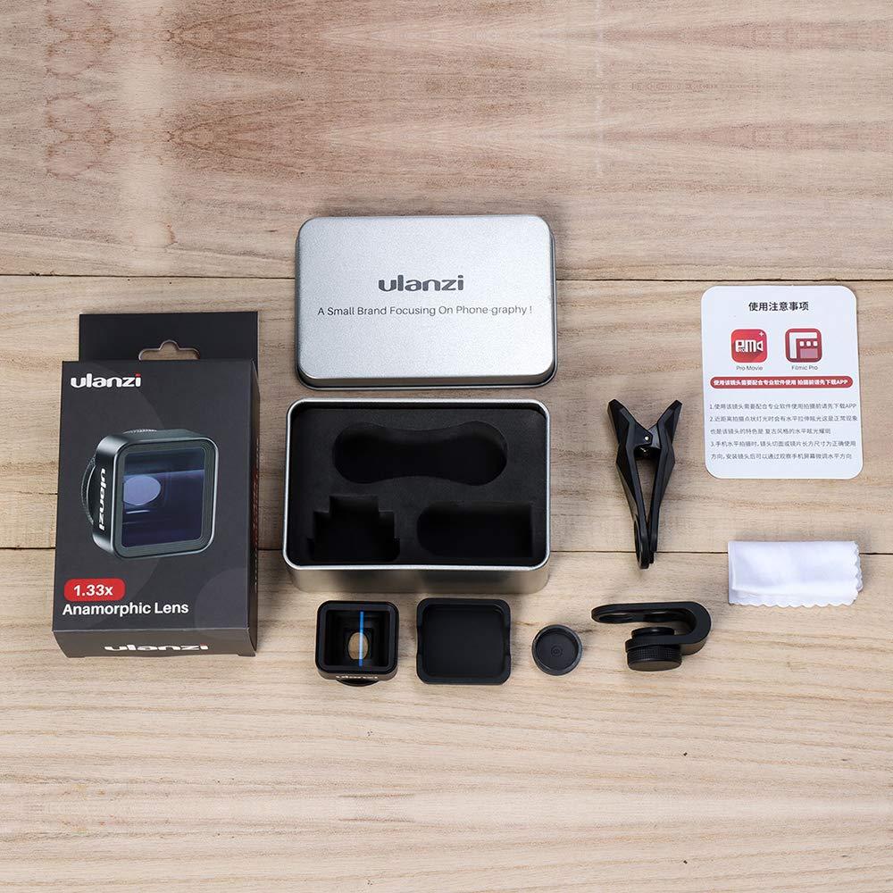 OUYAWEI Ulanzi 17 mm Universal 1.33X Anamorphic Lente de tel/éfono para iPhone XS MAX X Huawei P20 Pro Mate Pel/ícula de Disparo para Hacer Lentes de tel/éfono Accesorios electr/ónicos