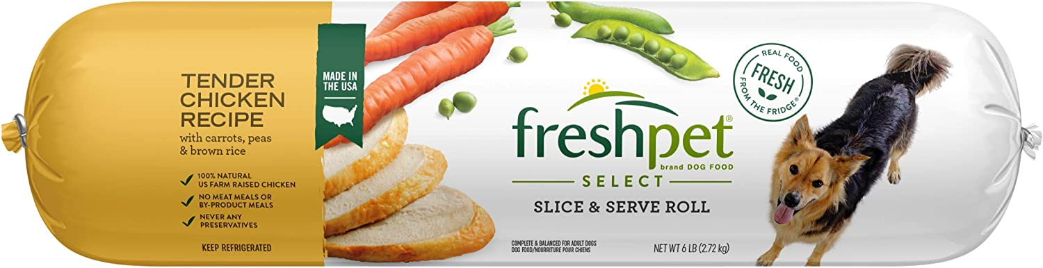 Freshpet Dog Food, Slice and Serve Roll, Tender Chicken Recipe, 6 Lb