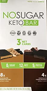 New! No Sugar Keto Bars – Vegan Keto Food Bars, Low Carb/Low Glycemic, 0 grams of Sugar, All Natural, 9g of Plant Based Protein, 13g of Fats per Bar, Only 3g Net Carbs