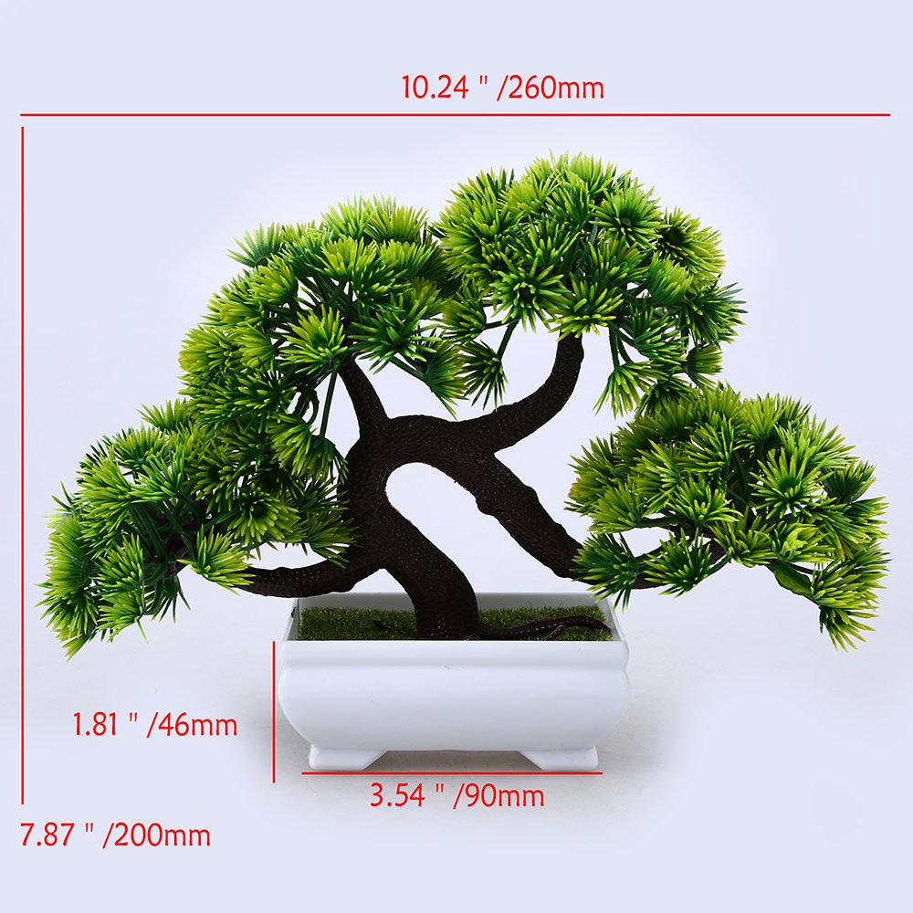 WCIC Artificial Pine Bonsai, Fake Potted Plants Decor for Home Office Green by WCIC (Image #6)
